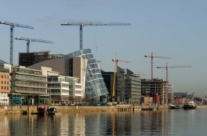 Dublin with cranes